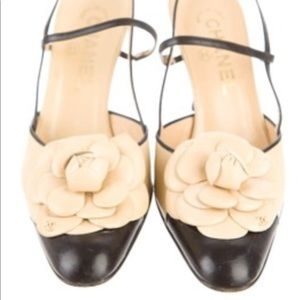 Authentic Chanel Camellia leather slingbacks